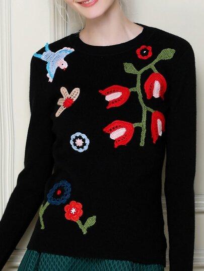 Pull brodé floral -noir