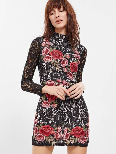 Embroidered Rose Applique Floral Lace Bodycon Dress
