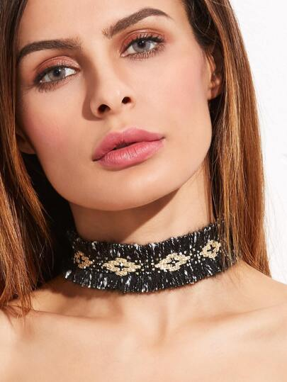 Black Print Acrylic Wide Choker Necklace