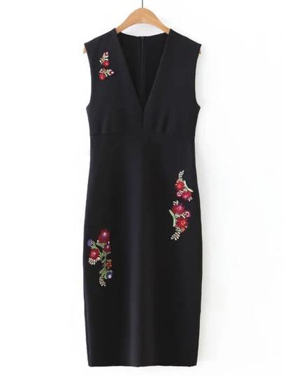 Black Deep V Neck Embroidered Flower Applique Sleeveless Dress