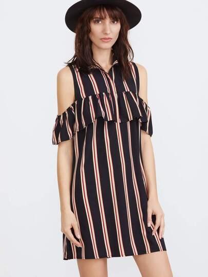 Striped Open Shoulder Ruffle Shirt Dress