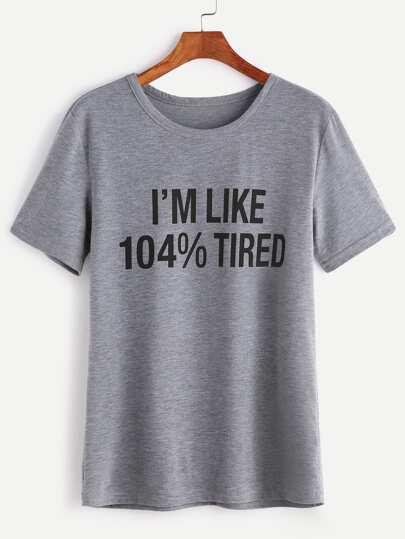 Camiseta con estampado de slogan - gris