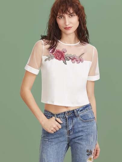 T-shirt brodé floral appliqué de maille sur épaule court -blanc