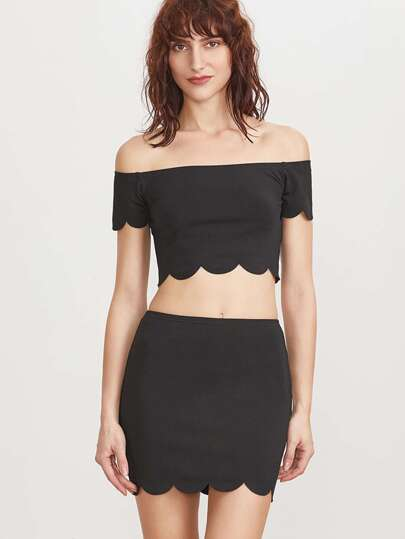 Black Scallop Edge Off The Shoulder Crop Top With Skirt