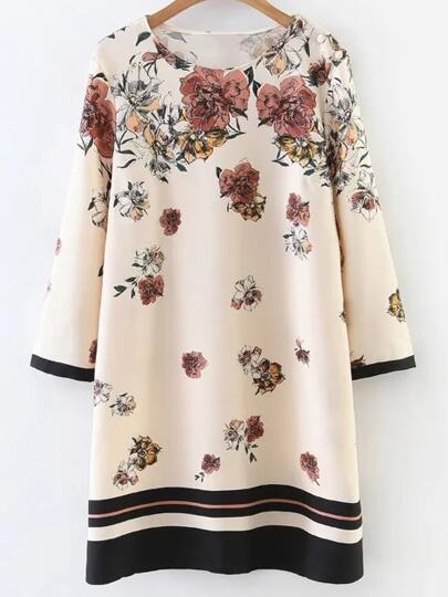Apricot Floral Print Contrast Trim Dress