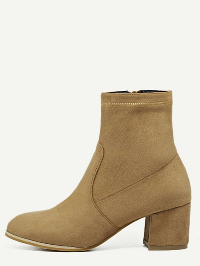 Light Brown Faux Suede Chunky Heel Booties