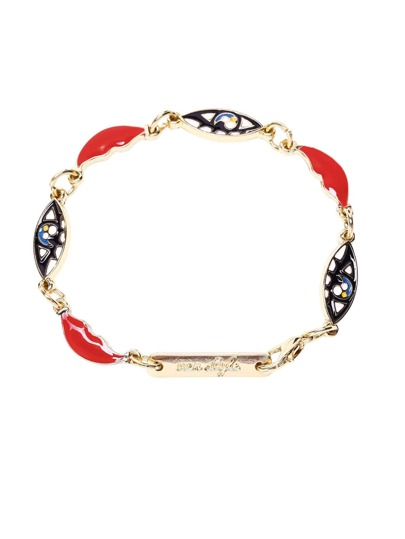 Gold Tone Plated Eye and Lip Link Bracelet