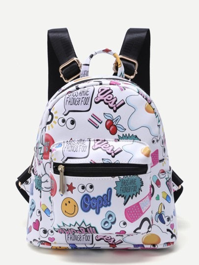 White Cartoon Print Pocket Front PU Backpack