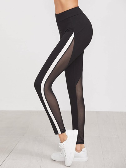 Contrast Panel Mesh Insert Leggings
