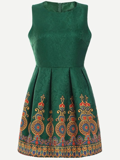 Green Vintage Print Box Pleated Jacquard Dress