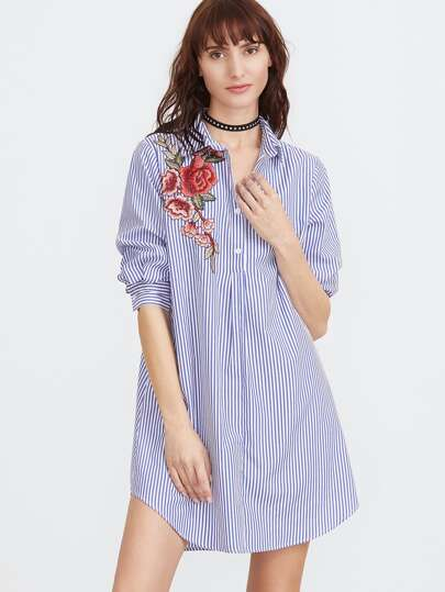 Striped Embroidered Applique Shirt Dress