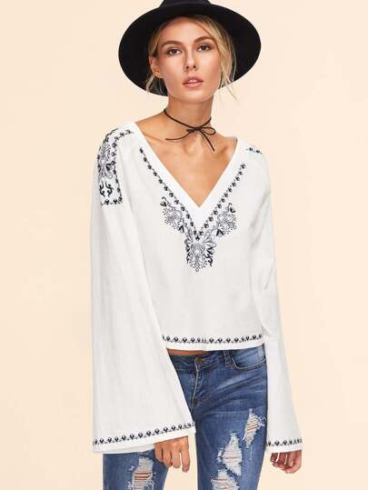 White Double V Neck Bell Sleeve Embroidered Top