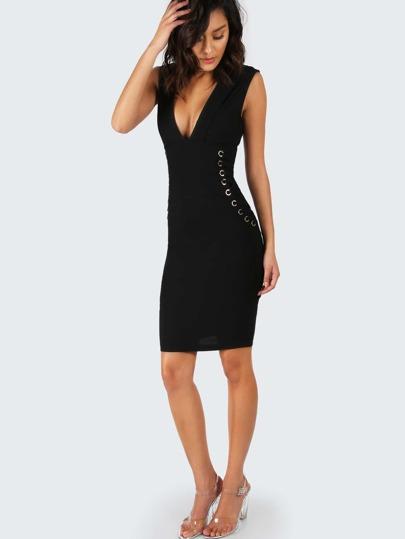 Deep V Tulip Bodycon Strap Dress BLACK