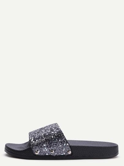 Pantuflas con lentejuelas - negro
