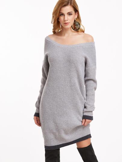 Pullover Kleid Kontrast Saum Drop Schulter-grau