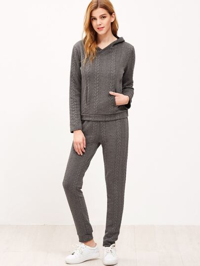 Dark Grey Hooded Cable Pattern Sweatshirt With Pants