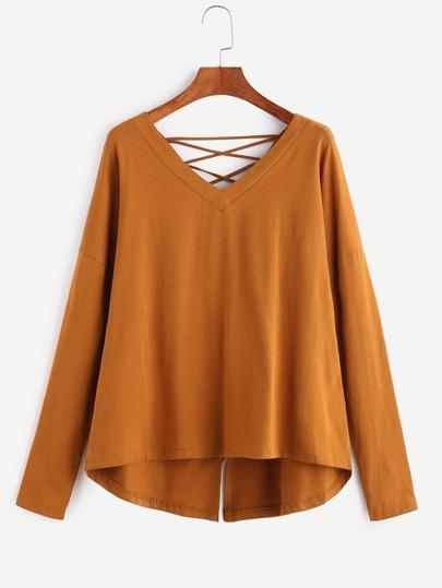Camiseta asimétrica con cuello en V espalda enrejada - camello