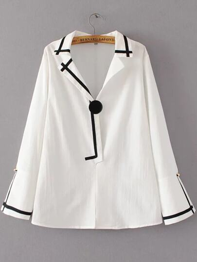 White Contrast Trim Bell Sleeve Button Blouse
