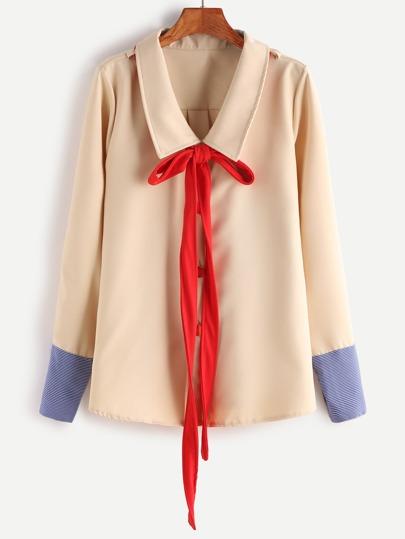 Apricot Bow Tie Neck Contrast Stripe Cuff Blouse