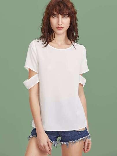 Overlap Back Cutout Sleeve Top