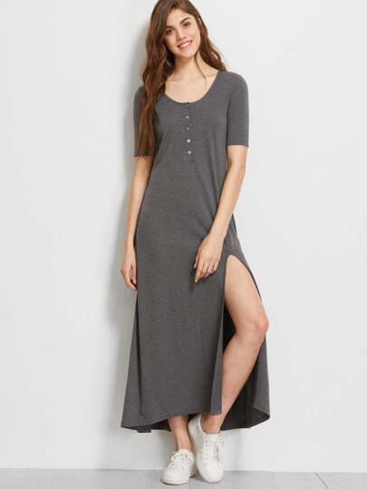 Button Front Slit Front Maxi Dress