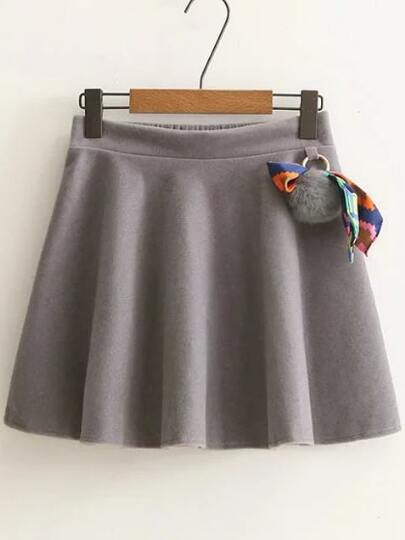 Grey Elastic Waist A Line Skirt With Pom