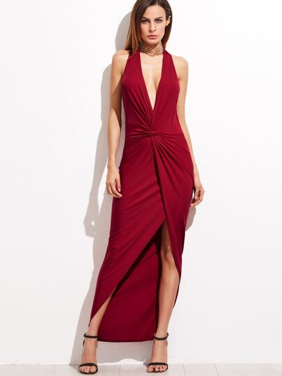 Burgundy Halter Plunge Neck Twist Front Open Back Dress
