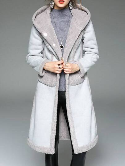 Grey Pockets Shift Hooded Coat