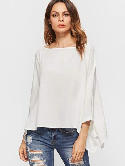 White Dolman Sleeve Asymmetrical Blouse