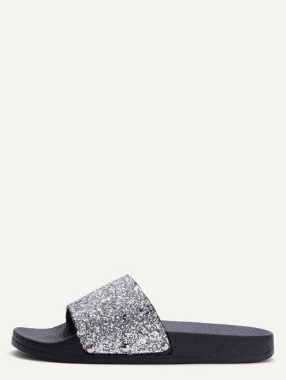 Sandalen mit Glitter Pailletten-silber