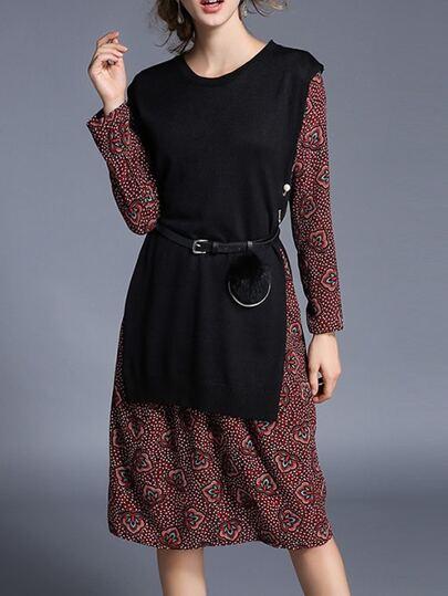 Schwarz Knit Belted Drucken Combo Kleid