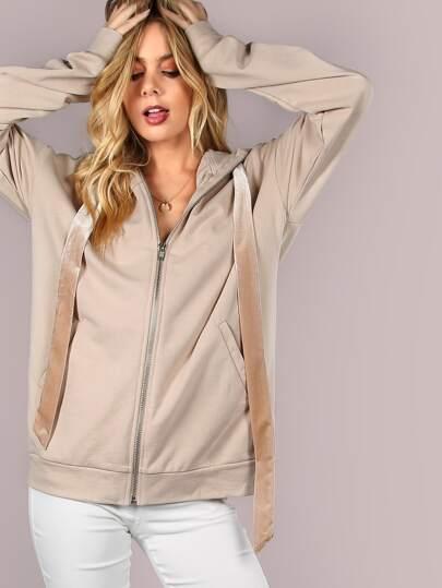 Oversized Zip Up Jacket w/ Velvet Drawstring BEIGE