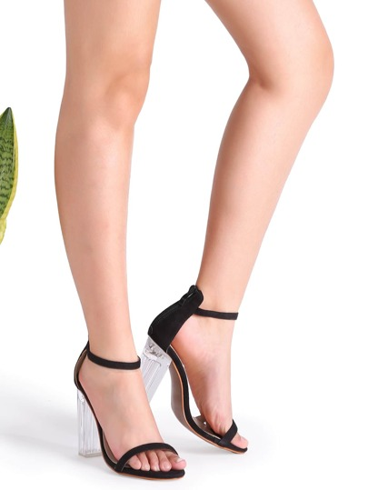Black Ankle Strap Transparent Chunky Heels