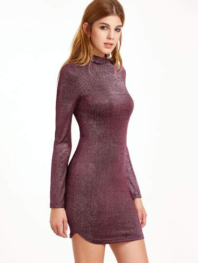Metallic Burgundy Mock Neck Long Sleeve Bodycon Dress