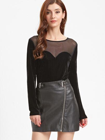 Black Contrast Sheer Mesh Velvet T-shirt