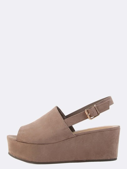 Faux Suede Mule Flatform Sandals LIGHT TAUPE