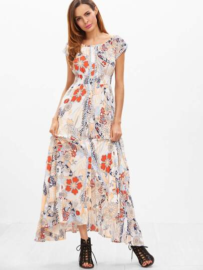 Multicolor Flower Print Smocked High Waist Ruffle Hem Dress