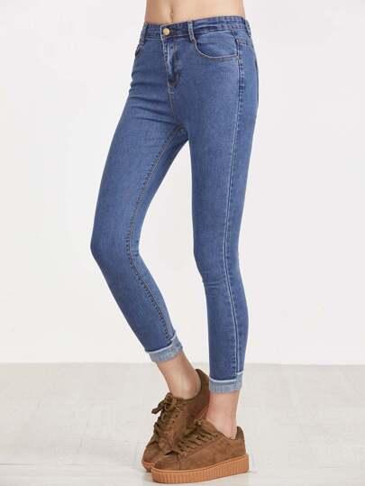 Blaue Kontrast-Saum Dünne Knöchel-Jeans