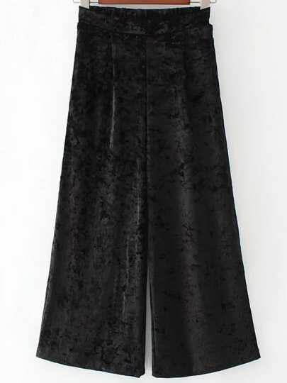 Black Wide Leg Velvet Pants