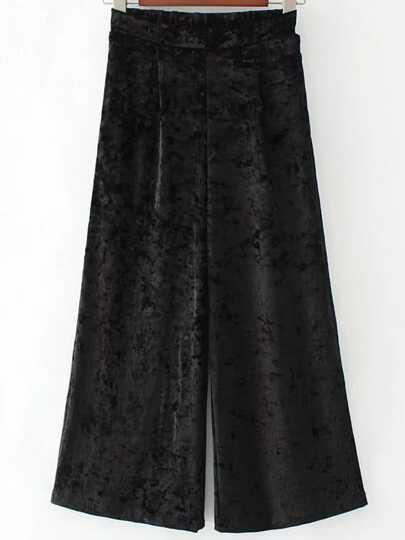 Pantalones de terciopelo de pernera ancha - negro