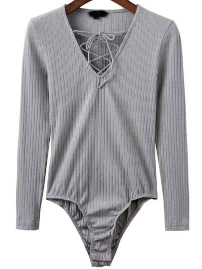Bodysuit mit Schnürungen V-Ausschnitt-grau