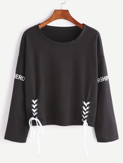 T-shirt Buchstaben Patch Holen Design Schnüren Saum-schwarz