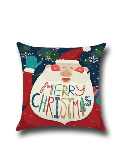 Santa Claus Linen Cartoon Square Pillowcase Cover