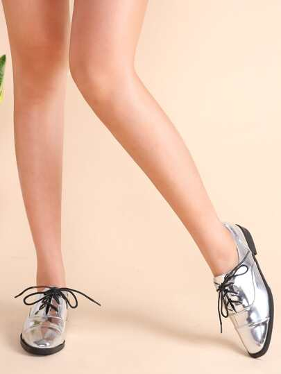 Sparkly Silver Cap Toe Patent Leather Lace Up Oxfords