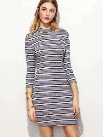 Grey Striped Ribbed Knit Mock Neck Bodycon Dress