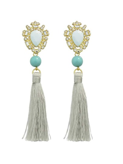 Blue Long Chain Tassel Earrings Women
