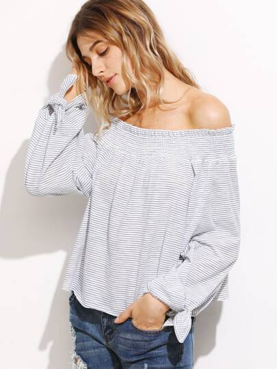White Striped Smocked Off The Shoulder Tie Sleeve Top