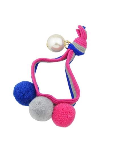 Fascia Per Capelli Elastica Con Perline - Rosa Scura