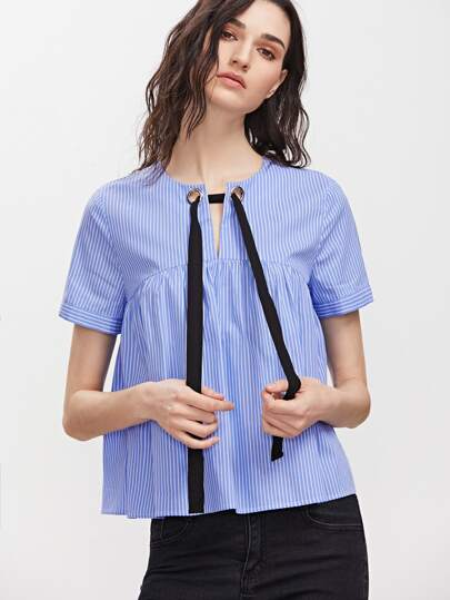 Blue Striped Eyelet Tie Neck Babydoll Top
