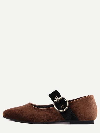 Brown-wölbte Bügel-Samt-Ballett-Schuhe